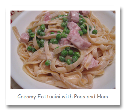 Creamy Fettucini with Ham and Peas